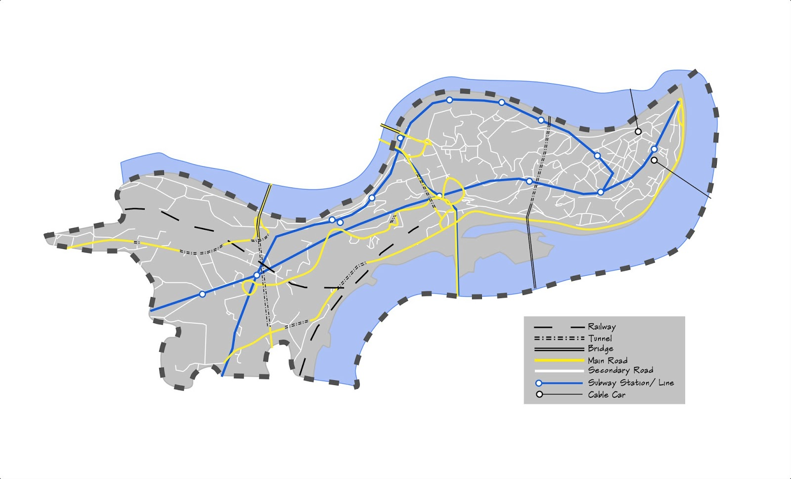 this diagram is the mobility analysis of chongqing city it shows the complex transportation in the peninsula
