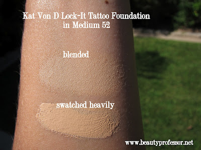 Kat Von D Lock-It Tattoo Foundation swatches