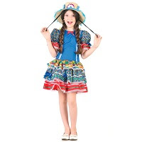 Fantasia temática de Festa Junina Caipirinha Azul menina