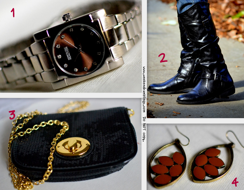 Fashion Accessories Options for Women for less than $50 - Avon Kenneth Cole Reaction Watch, White Mountain Boots, Macys Sequin Cross Body Bag with Gold Chain, and Ear Rings from Target