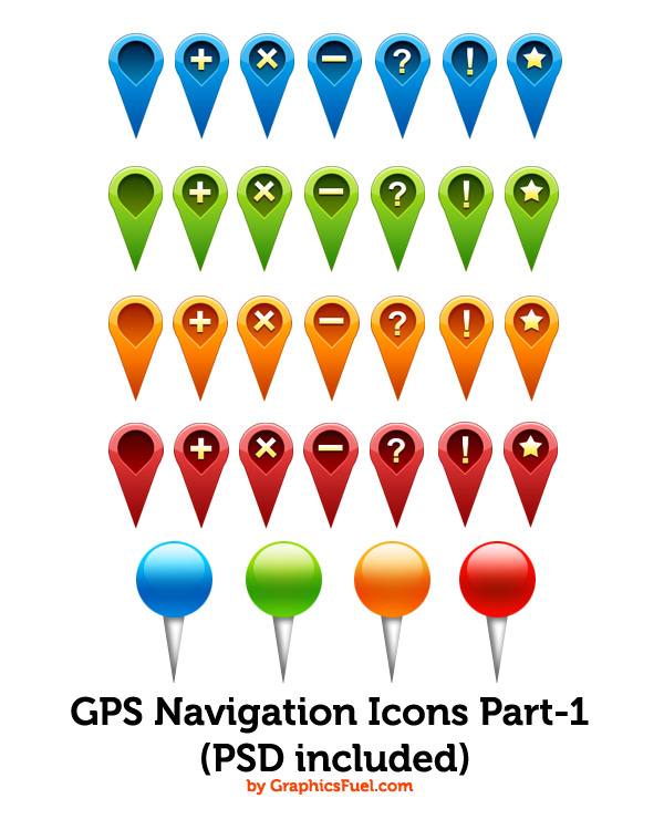 GPS Navigation PSD Icons