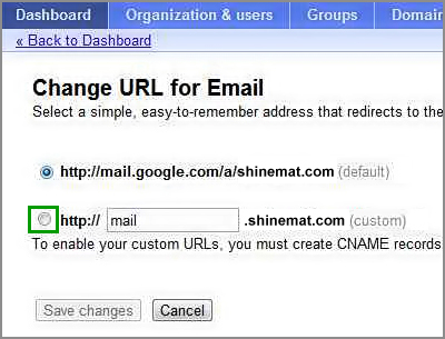 Setup customize mail web address
