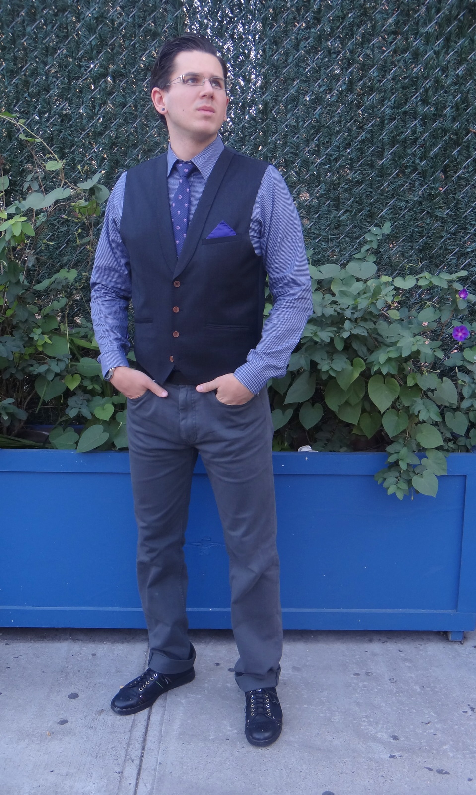 d9657a4414 Pocket square by Thomas Pink  Vest by Ted Baker  Shirt by Nigel Hall  Pants  by Marc by Marc Jacobs  Sneakers by Paul Smith Jeans  Tie by Alexander  McQueen  ...