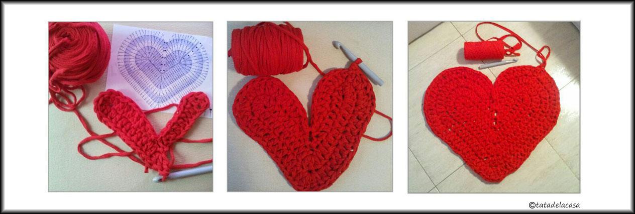 Tatadelacasa: Patrón alfombra corazón de trapillo