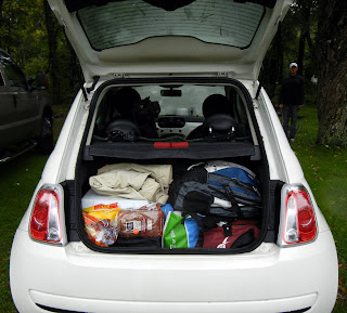 Our Fiat 500 packed up, ready to go on our journey in New England