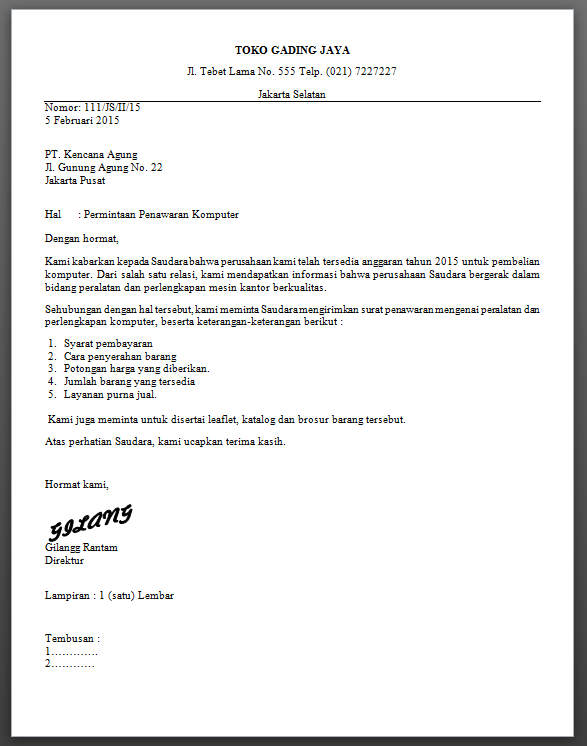 Ridjki rangga business letter write the example of full block style and semi block style altavistaventures Image collections