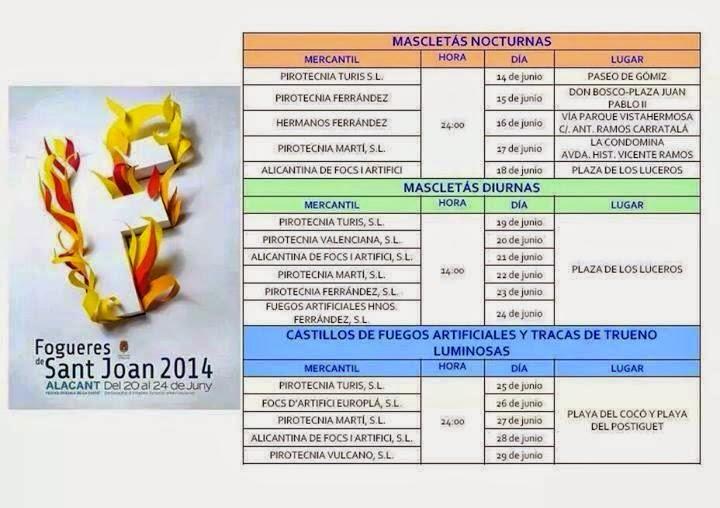 Programa de actos Hogueras de Alicante 2014
