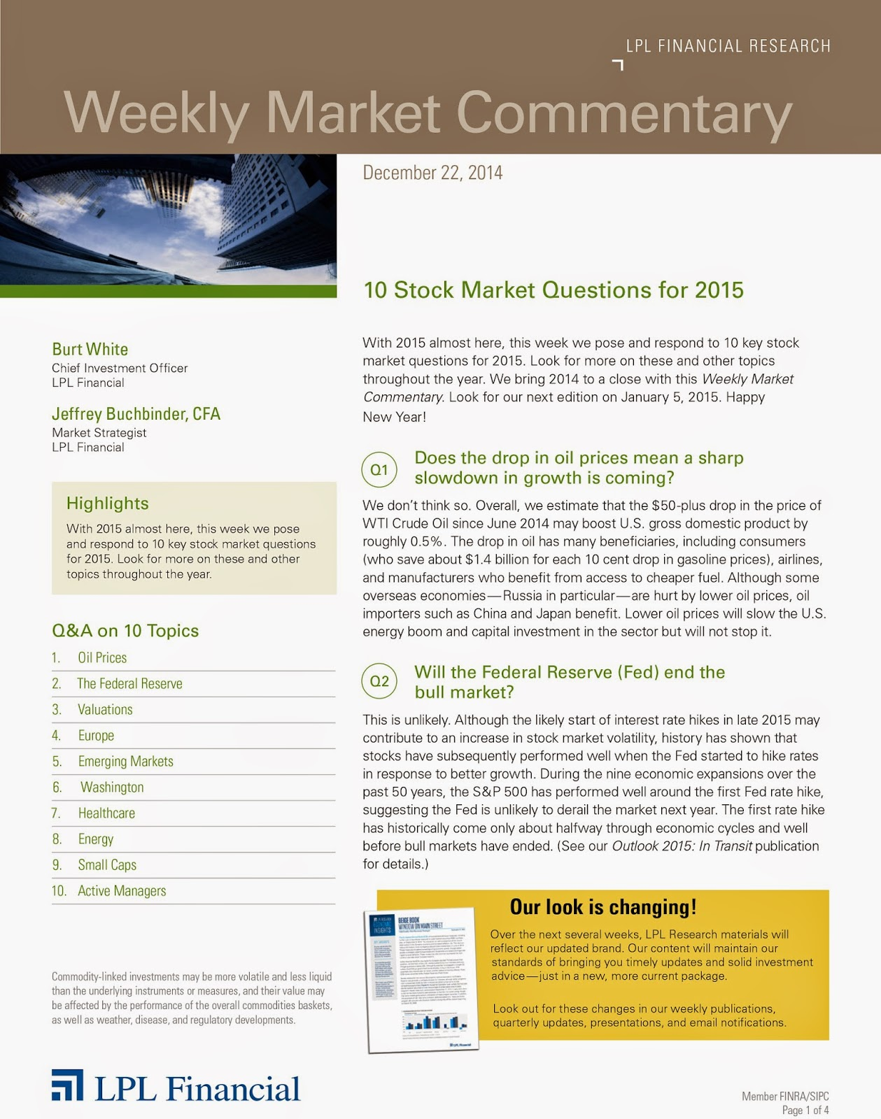 December 22, 2014 - LPL Financial Weekly Market Commentary from Legacy Wealth Planning