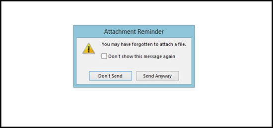 Bật nhắc nhở đính kèm file khi gửi mail của Outlook 2013
