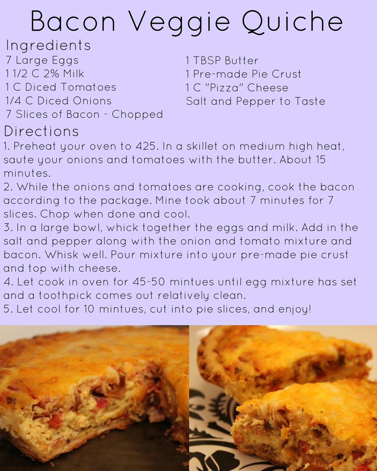 bacon veggie quiche, quiche, veggie quiche, bacon quiche, tasty tuesday, recipe, quiche recipe, veggie quiche recipe, bacon veggie quiche recipe,