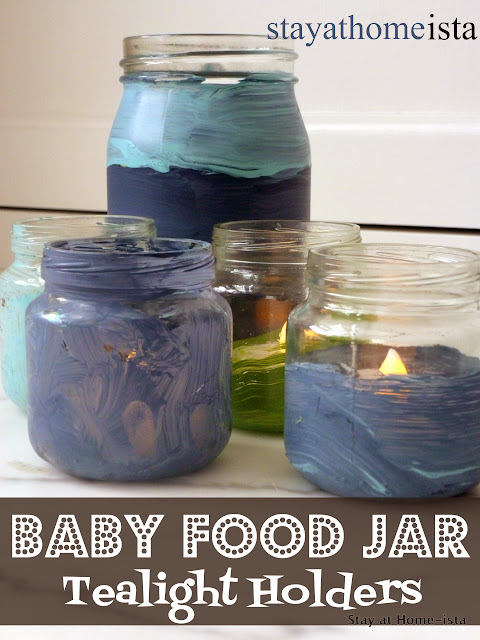 Use baby food jars as tea light holders, perfect for centerpieces, baby showers, or kid birthday parties
