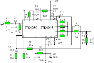 Schematics Amplifier STK4050-STK4046