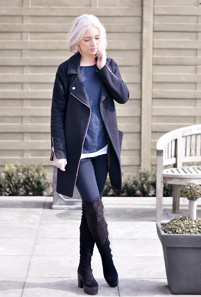 Overknee boots, sacha, chunky, black, asos biker coat, primark top, ridley jeans