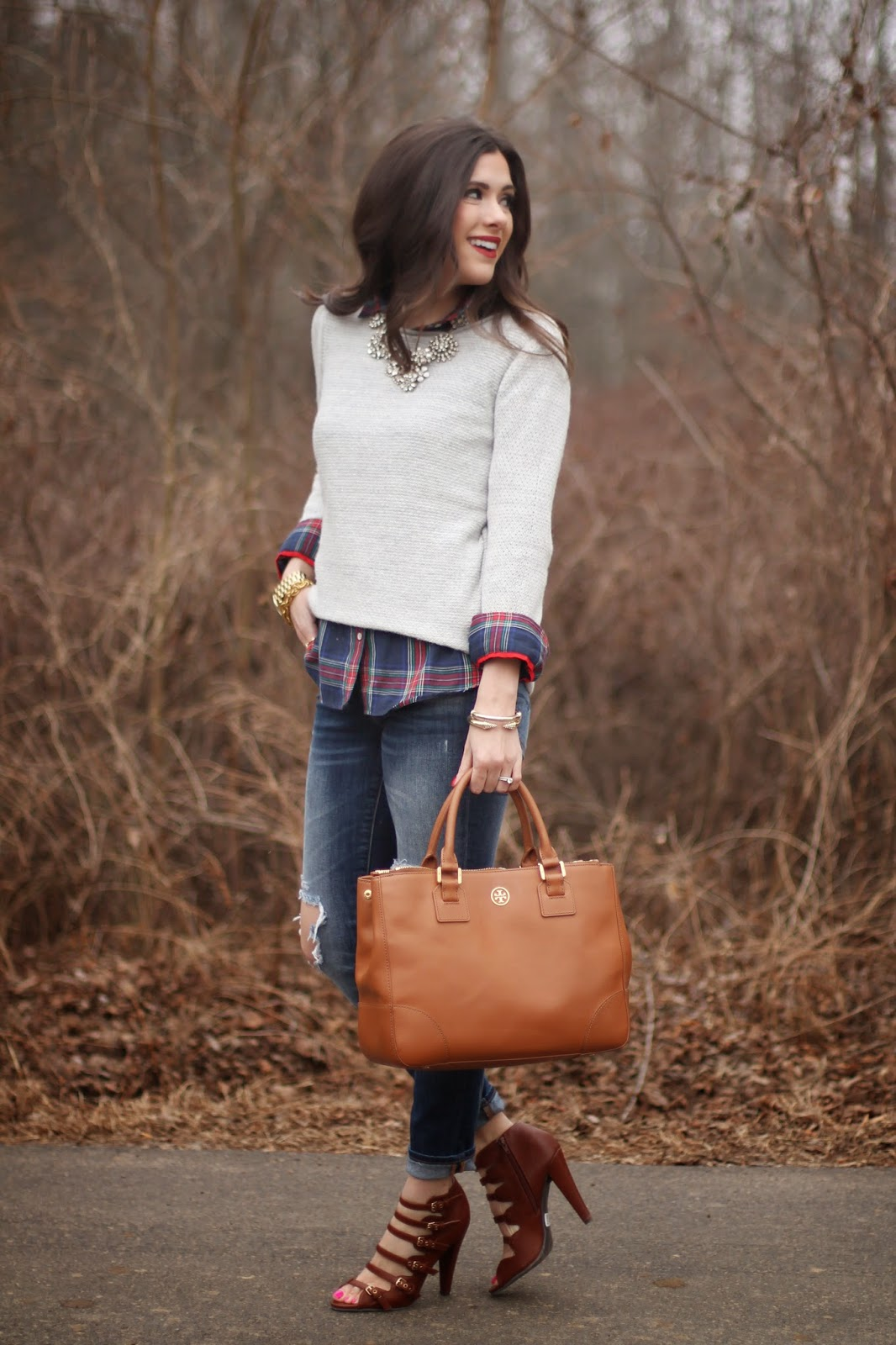 www.theSweetestThingblog.com, Emily Gemma, The Sweetest Thing, J.crew inspired crystal necklace, John Wind Bracelet, Michael Kors Runway Watch, Gray sweater plaid shiirt, Torn up Jeans, Strappy heels, Windsor Store Shoes, Bellami hair, david yurman Ring, tory burch robinson tote