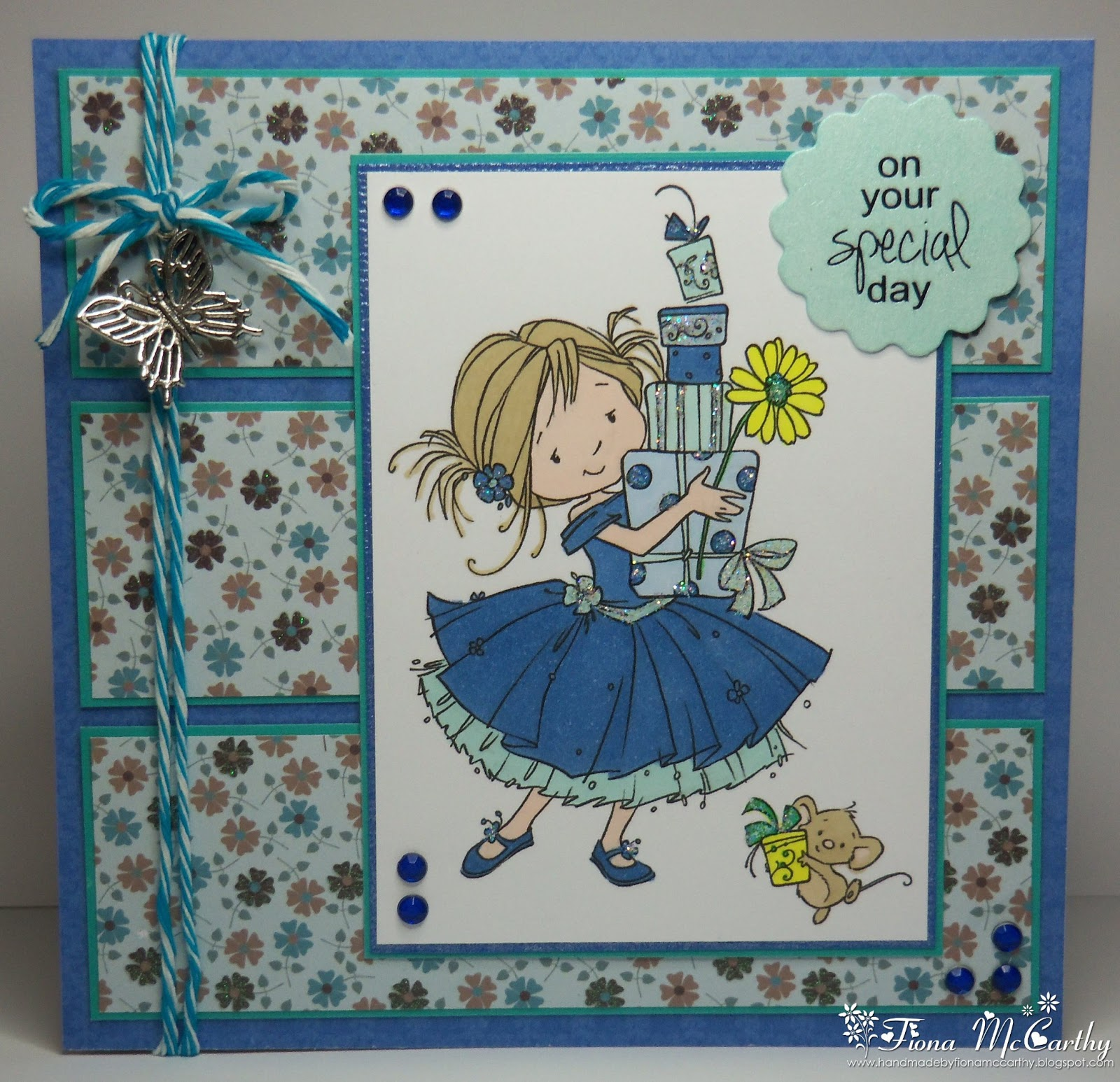 Handmade by fiona mccarthy best day ever birthday card for this card i have used a sugar nellie stamp called best day ever the papers that i have used are from studio light my charm twine and gems are all kristyandbryce Choice Image