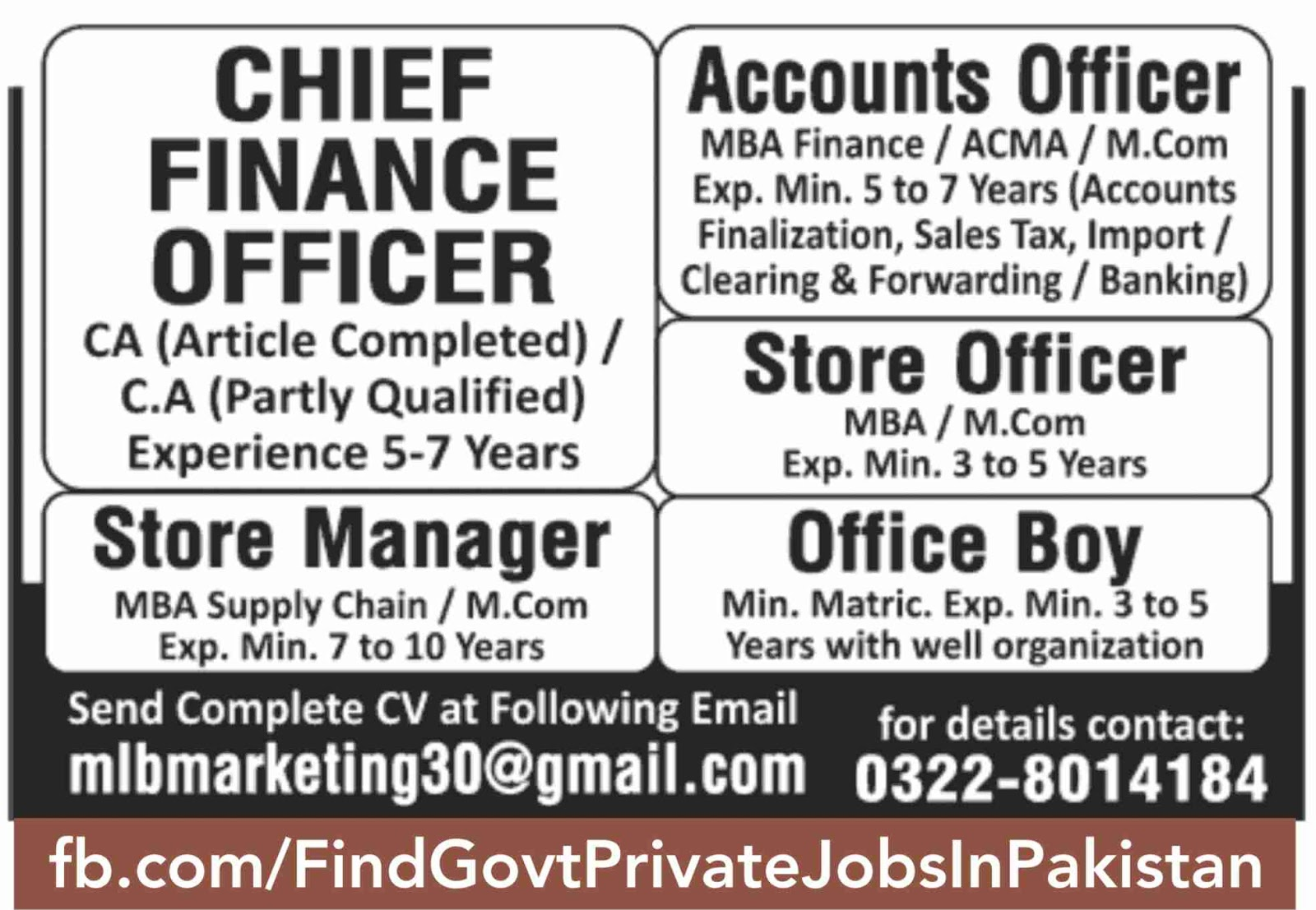 chief finance officer job ads in sunday