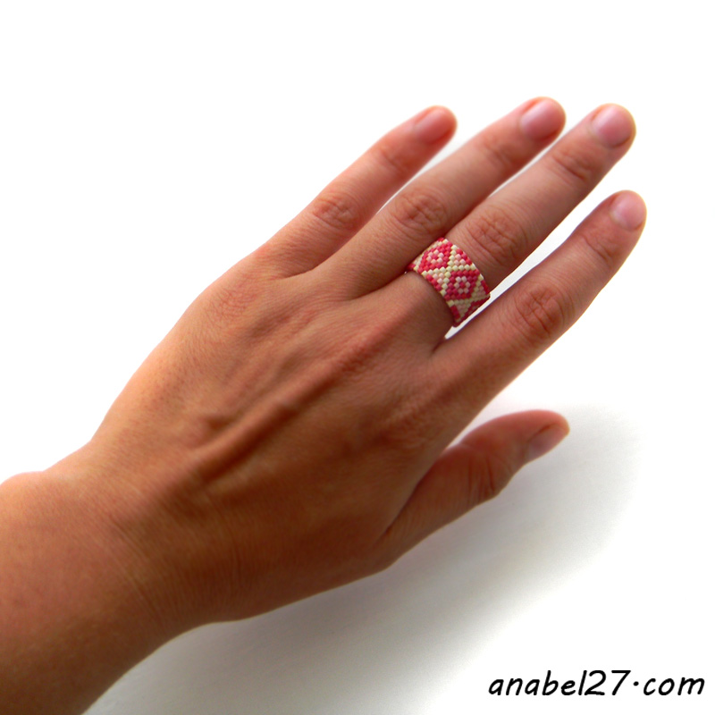 Кольцо из бисера - peyote ring - beadwork jewelry
