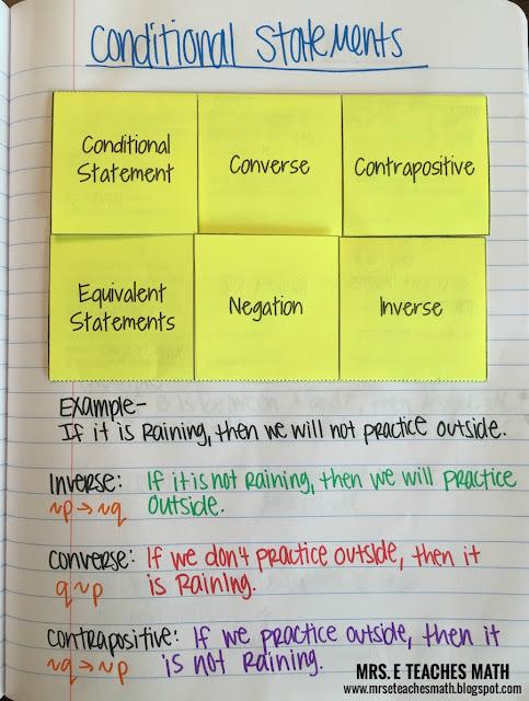Mrs. E Teaches Math:  Conditional Statements Interactive Notebook Page for Geometry  |  http://mrseteachesmath.blogspot.com/