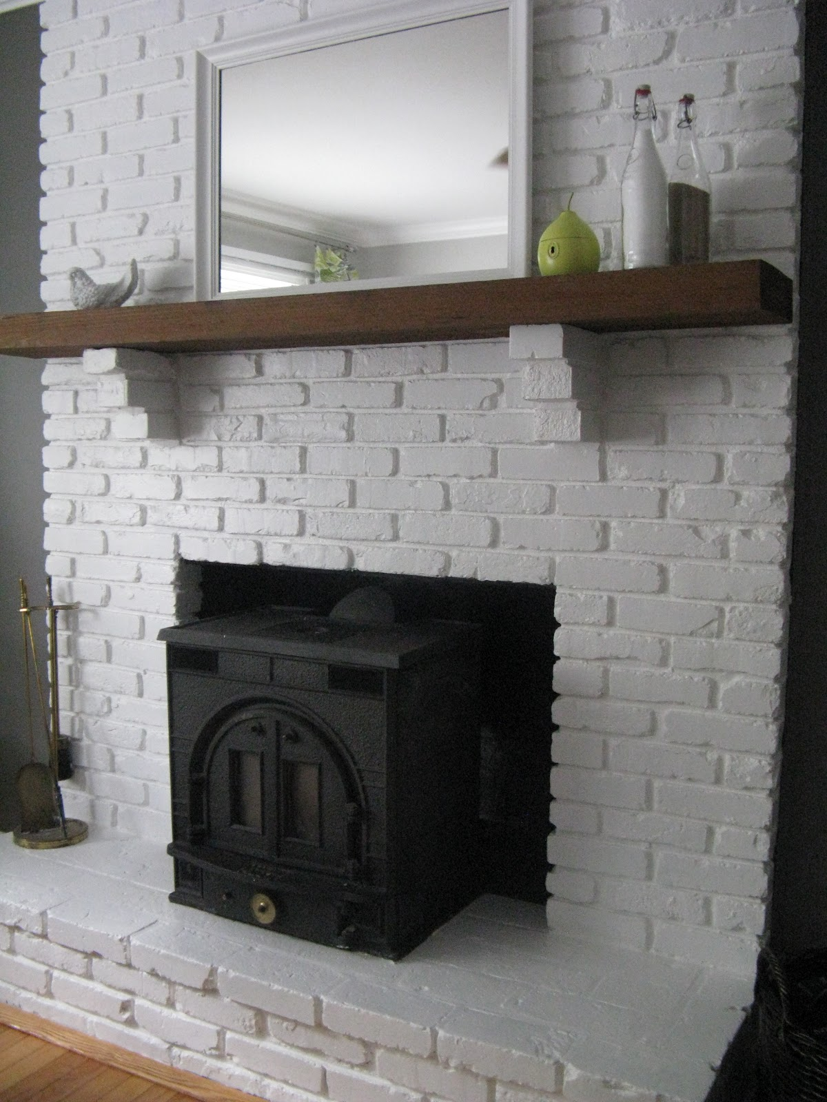 Olive Coast Painted Brick Fireplace And New Wall Colors