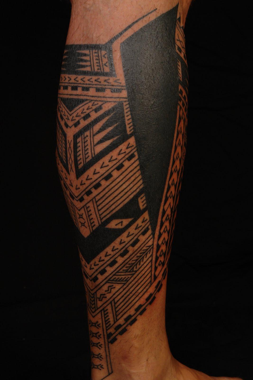 Polynesian Calf Tattoo
