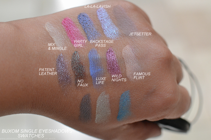 Buxom Eyeshadow Bar Single Eyeshadows Refills Swatches Mix Mingle Party Girl Backstage Pass La-La-Lavish Jetsetter Patent Leather No Faux Luxe Life Wild Nights Famous Flirt