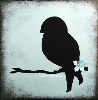 Bird Silhouette Acrylic Painting
