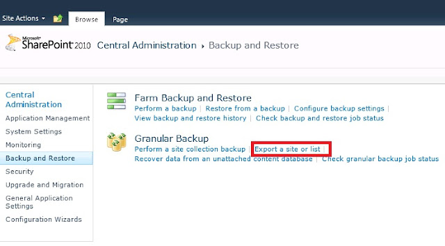 Backup and Restore in Sharepoint 2010