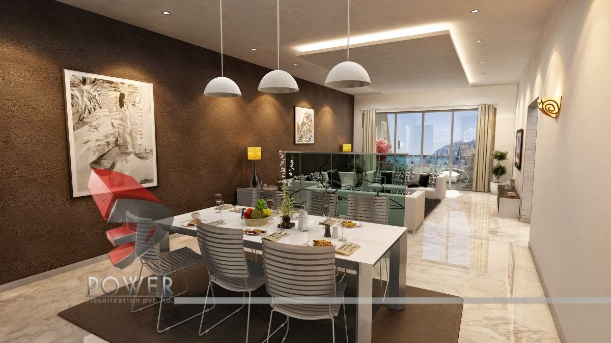Stylish Interior For Dinning with Living Area