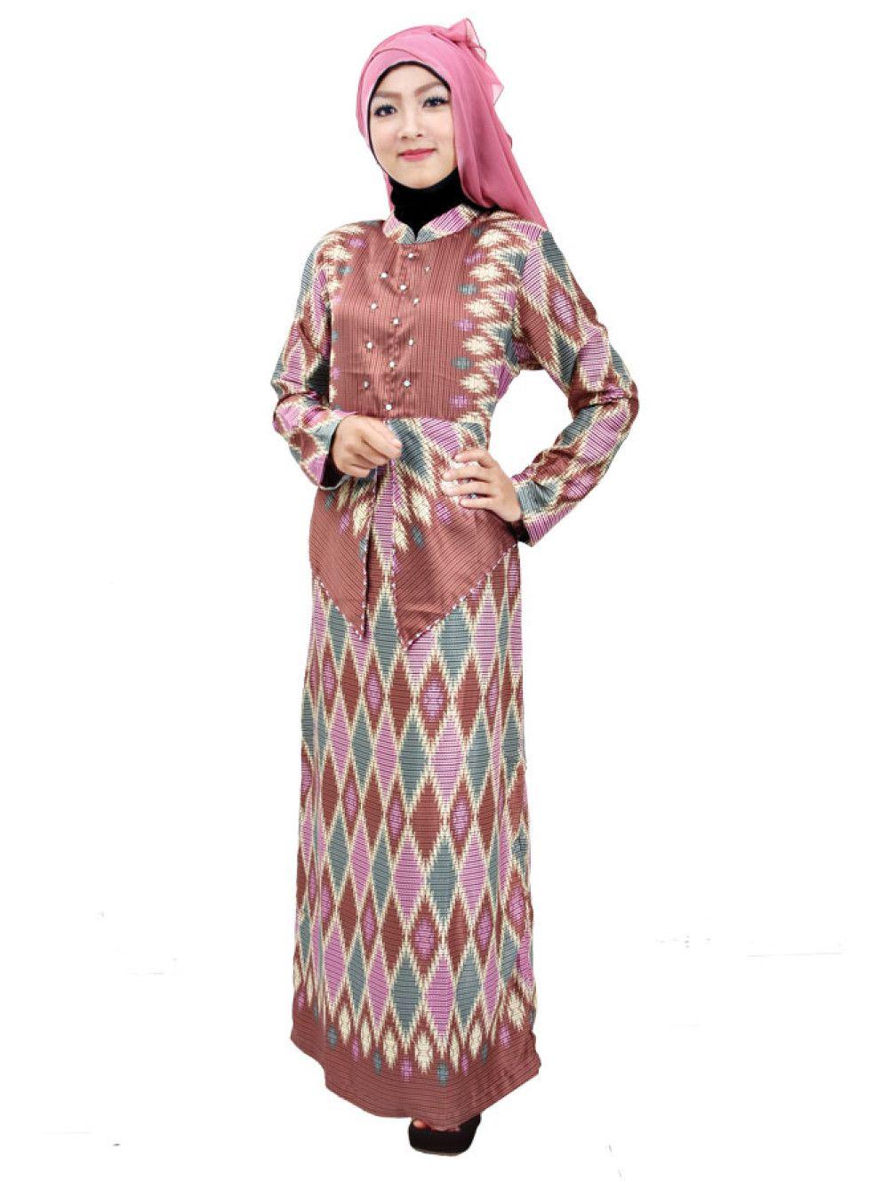 Contoh model baju gamis batik terbaru 2016 Model baju gamis batik muslimah terbaru