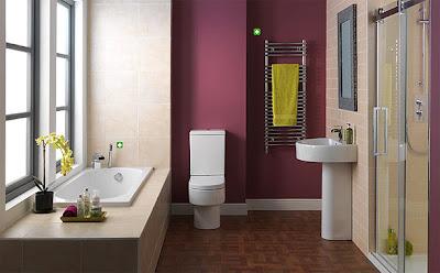 modern and minimalist bathroom design in beige and purple