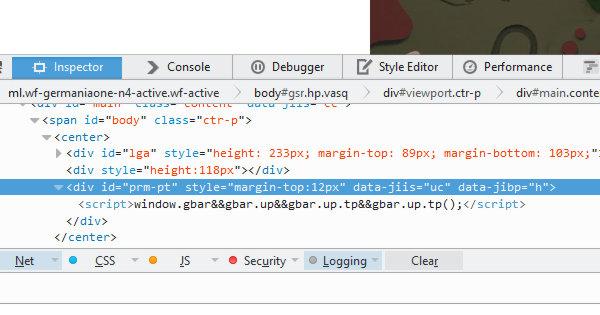 Google HTML Page Source