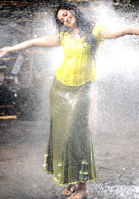 Anushka Hot Wet in Yellow Dress Photos