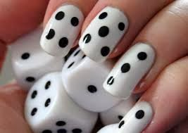 Fingernail designs easy nail art this easy nail art has a dicing effect paint nails white and then add black polka dots with tip of brush prinsesfo Gallery