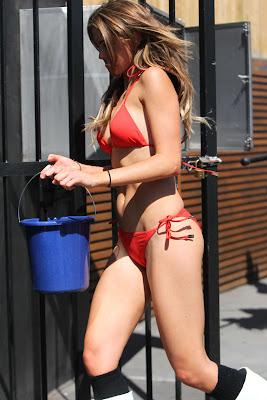 Hot Babe Jesinta Campbell's Bikini Car Wash Candids