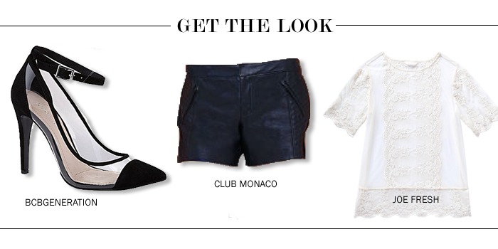 bcbgeneration shoes, club monaco leather shorts, joe fresh lace top