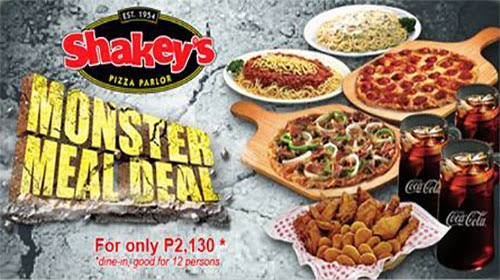 Shakey's New Monster Meal Deal good for 12 persons has new price of P2,130