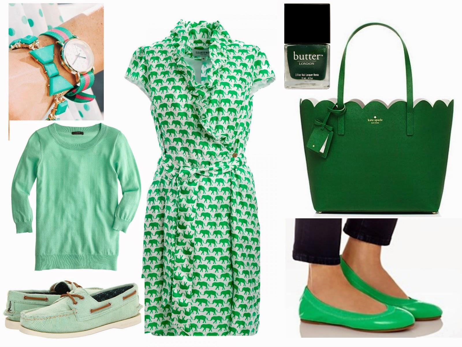 preppy st patrick day outfit idea elizabeth mckay kate spade sperry