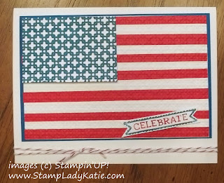 4th of July US Flag card made with Brayered Embossing Technique