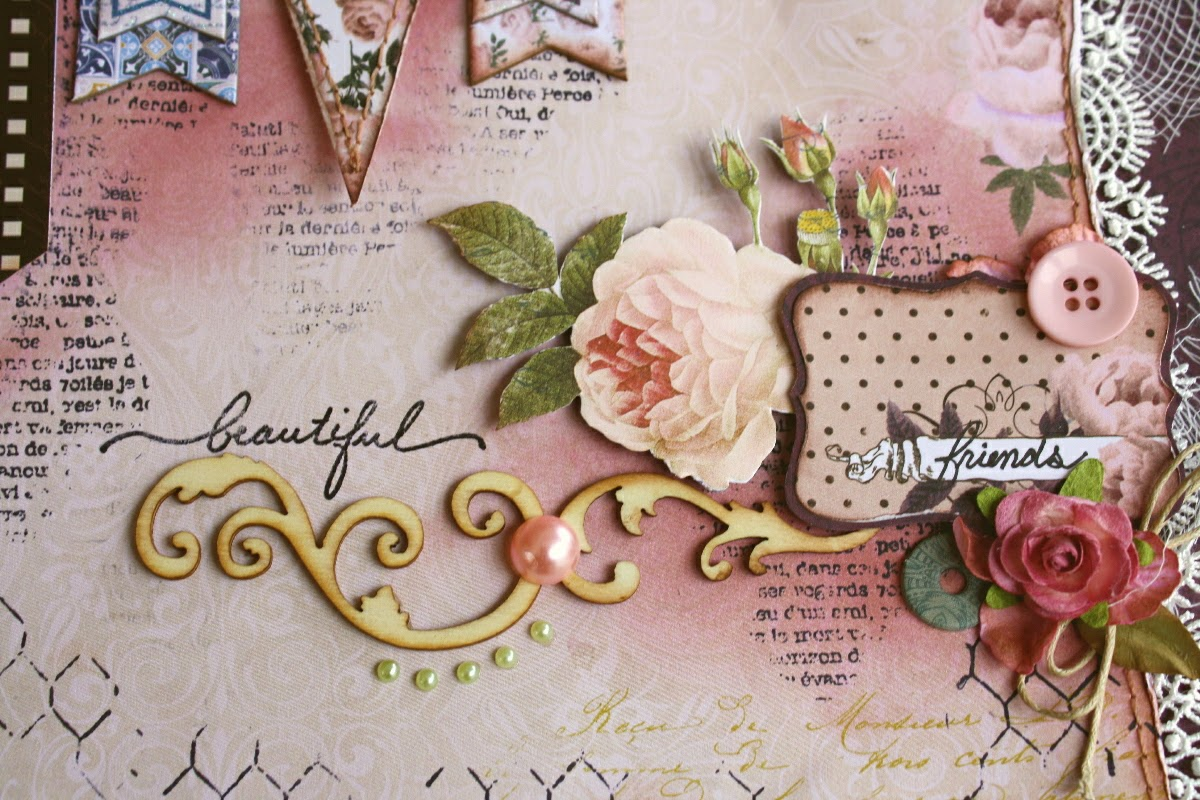Scrapbook ideas for best friend - For My Corner Accent I Did A Little Bit Of Inking With Some Tim Holtz Victorian Velvet Distress Ink Then I Stamped Over The Area With Some Classic Bo