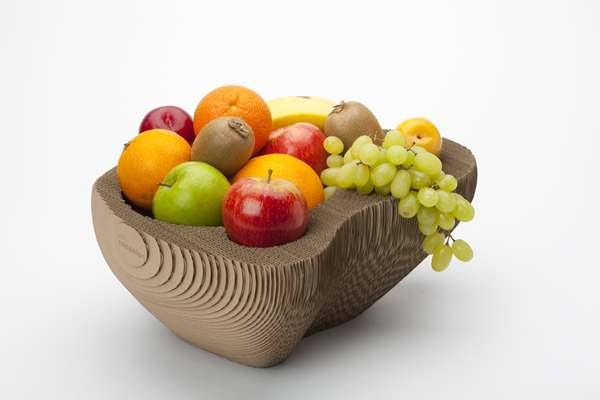 cardboard fruit bowl in three dimensions