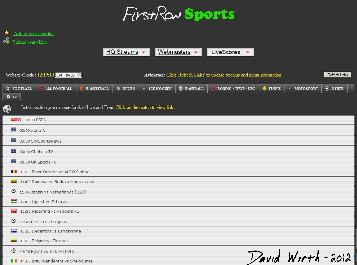 First row sports watch live sports globe world stream game games