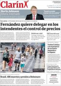 06/04/2020   ARGENTINA  UNA  PRIMERA PÁGINA DE LA PRENSA
