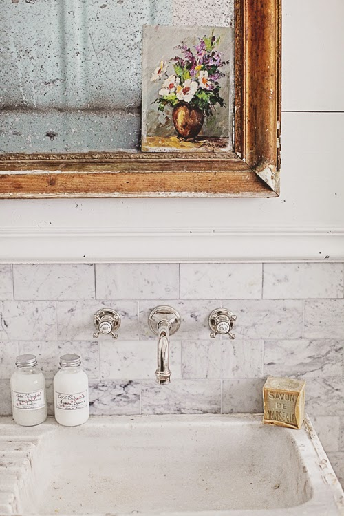 French Stone Sink : ... Remodel, Carrera Marble Subway Tile, Hex Tile, and a French Stone Sink