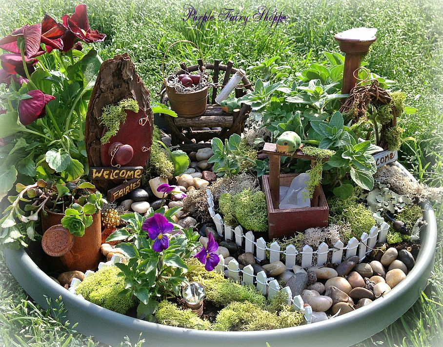 Studio create how to build a container fairy garden for Funky garden accessories