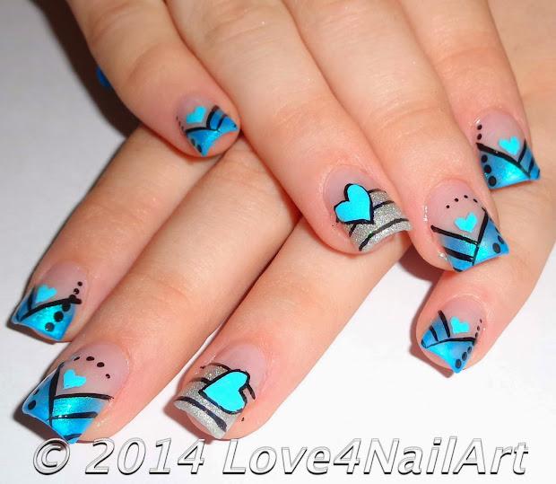 love4nailart sweet blue heart