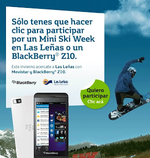 Promo Movistar ganá Mini Ski Week en las leñas o BlackBerry Z10!!