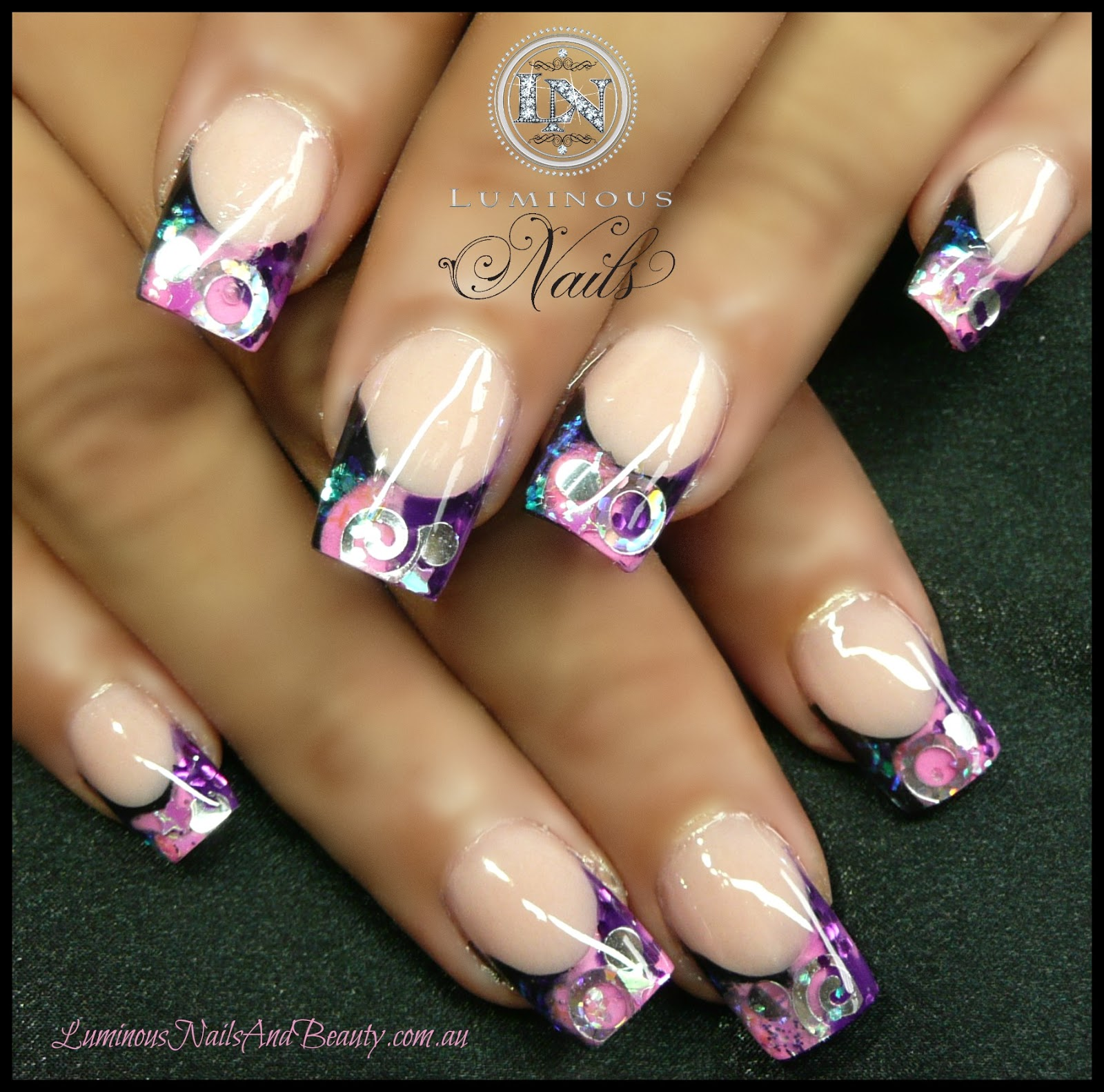The Appealing Black nails with pink glitter Photograph
