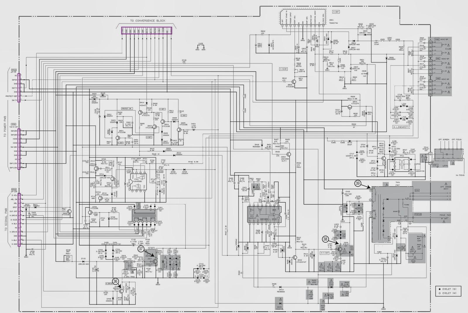 deflection schematic  circuit diagram   hitachi ptv  51    57