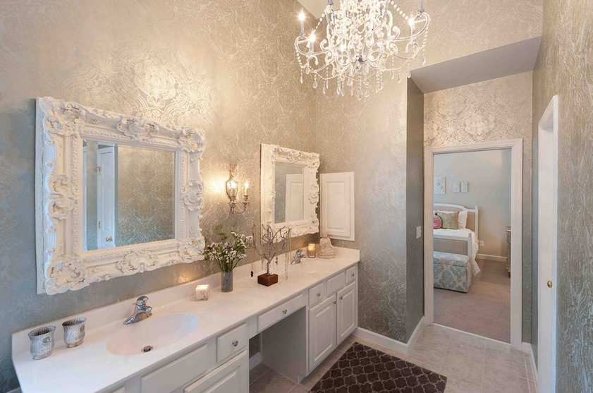 The Wallpaper In This Glamorous Bathroom Brings In The Color Palette And Patterns Of The Adjacent Bedroom