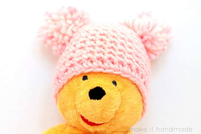 Crochet a newborn hat in just 12 rows! Free pattern and tutorial for the Bubble Gum Hat by Make It Handmade.